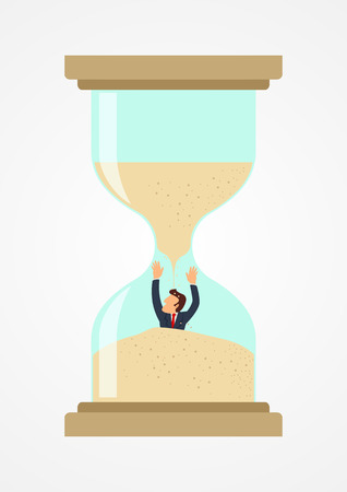 sand trap: Simple cartoon of a businessman trapped in sandglass, business, deadline, rush concept Illustration
