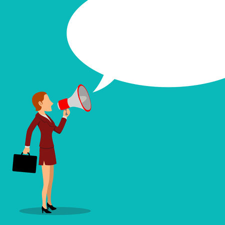 loud speaker: Simple cartoon of businesswoman with megaphone, promotion, advertisement concept