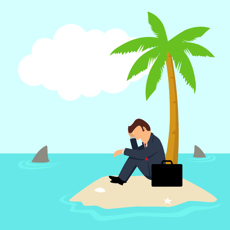 castaway: Simple cartoon of a businessman get stuck on island with water full of shark, business, financial crisis, frustration, cast away concept
