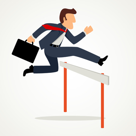 business challenge: Simple cartoon of businessman running over hurdle, business, challenge, risk, obstacle concept Illustration