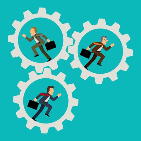 Simple cartoon of businessmen running in gears, business, team work, business on the move concept