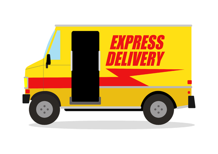 Simple cartoon of express delivery truck 向量圖像