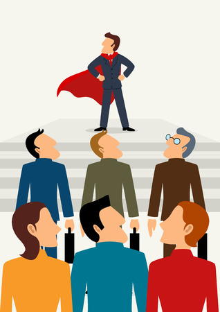 Simple cartoon of superhero businessman standing in front of his team, business, promotion, leader, leadership concept