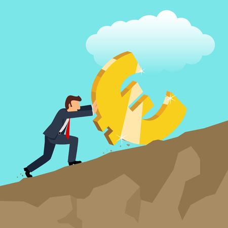 montañas caricatura: simple caricatura de hombre de negocios empujando euro de oro símbolo de moneda