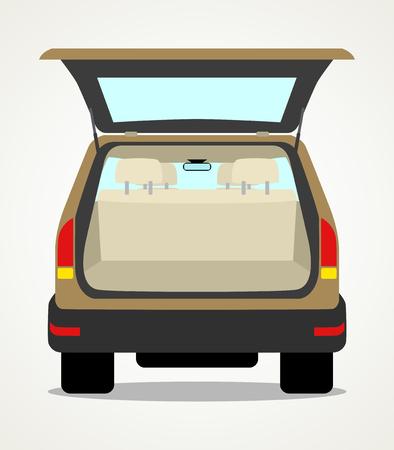 Eenvoudige cartoon van een lege auto bagage Vector Illustratie