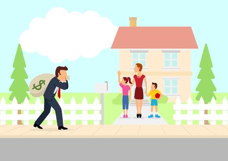 Bande dessinée simple de l'homme de retourner à la maison avec un sac d'argent, travailleur acharné, ramener à la maison le lard, l'homme de la famille, le père rentre à la maison, prendre le thème de rémunération à domicile Banque d'images - 67918125
