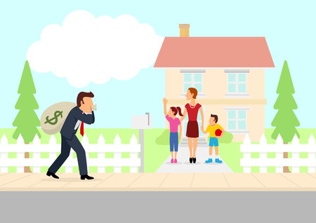 Simple cartoon of man returning home with a bag of money, hard worker, bring home the bacon, family man, father coming home, take home pay theme Stock Illustratie