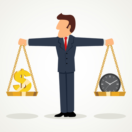 Simple cartoon of businessman holding a scale of money and clock, business, time is money concept