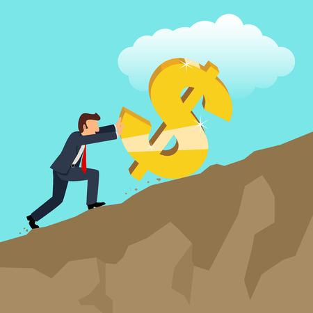 montañas caricatura: simple caricatura de hombre de negocios empujando dólar de oro símbolo de moneda
