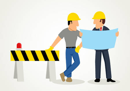 Simple cartoon of an engineer giving instruction to his subordinate Illustration