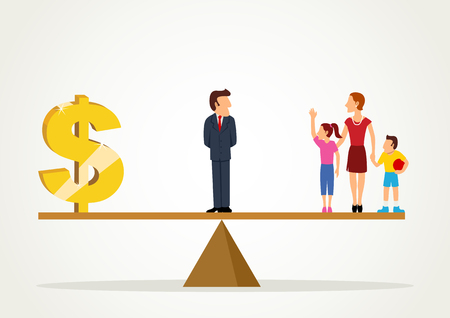 Simple cartoon of a man standing on a scale between dollar symbol and his family, business, balance between career and family concept