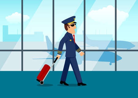 Simple cartoon of a pilot with luggage 向量圖像