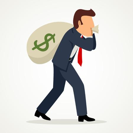 Simple cartoon of a businessman carried a money bag on his shoulder, business, bonus, earn, profit concept