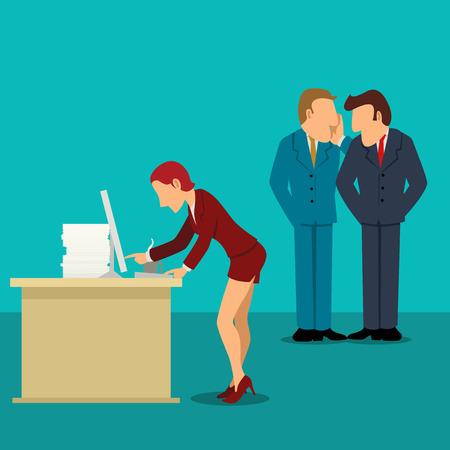 Eenvoudige cartoon van twee zakenmannen roddelen over hun vrouwelijke collega