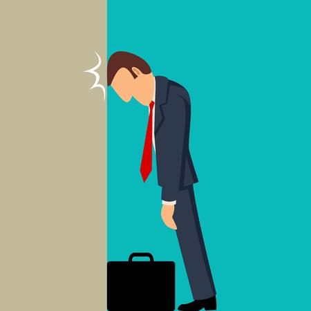 Simple cartoon of businessman knocking his head against wall, business failure, stupid mistake, regret concept Illustration