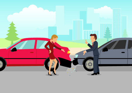 Simple cartoon of two drivers arguing after traffic accident, insurance, safety, precaution concept Illustration