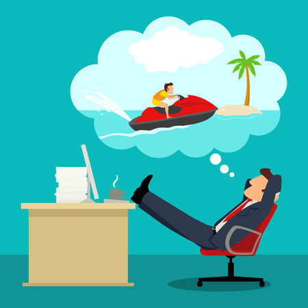 Simple cartoon of daydreaming businessman in office about playing jet ski during his vacation 向量圖像
