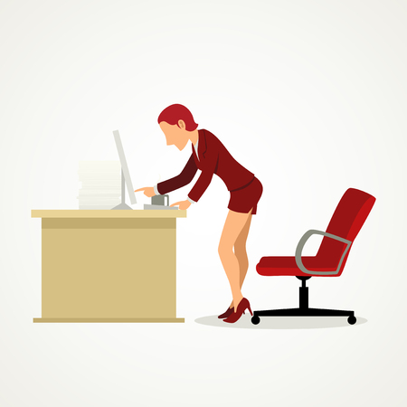 Simple cartoon of a businesswoman in skirt