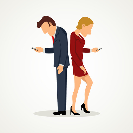 ignoring: Simple cartoon of a man and woman standing back to back and using their smart phones while ignoring each other
