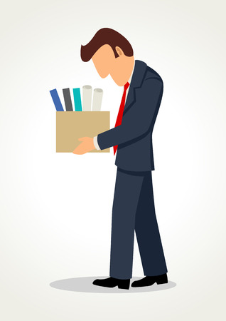 sad businessman: Simple cartoon of a sad businessman bringing personal items in box, get fired concept Illustration