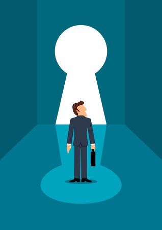 opportunity concept: Simple cartoon of businessman standing in front of keyhole, chance, opportunity in business concept