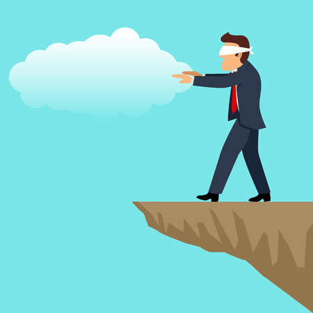 Simple cartoon of blindfolded businessman walking into the cliff, inexperience, uncertainty, ignorance in business concept