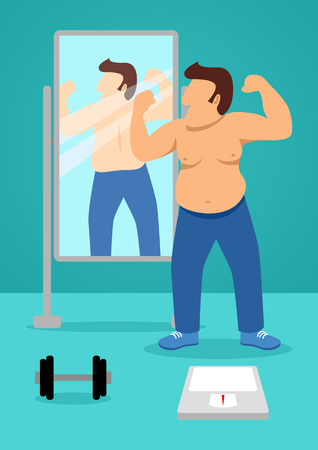 Simple cartoon of a fat man looking himself in standing mirror as he checks of his body after exercise. Diet, overweight concept 向量圖像