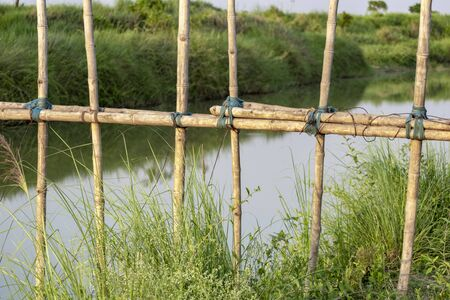 a bamboo bridge as a means of crossing between villages in India, splitting rivers, bridges in villages