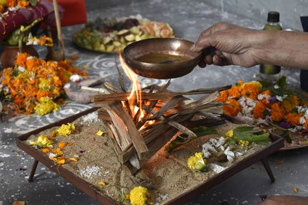 Hindu worship is a religious celebration also known as puja and Joggya
