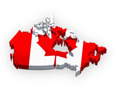 3d map of Canada (flag style) photo
