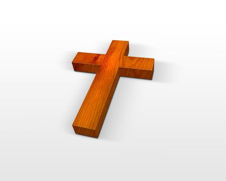 resurrect: wooden cross isolated on white Stock Photo