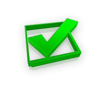 confirmed: green check box (3d) Stock Photo