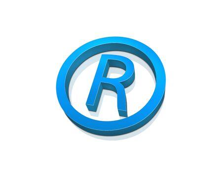 blue registered symbol isolated on white photo