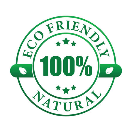 100% eco friendly natural label (vector image)