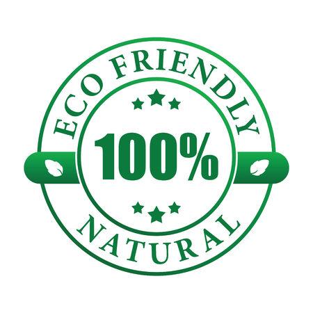 hundred: 100% eco friendly natural label (vector image)