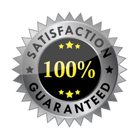 zufriedenheitsgarantie: 100 % Zufriedenheit garantiert label  Illustration
