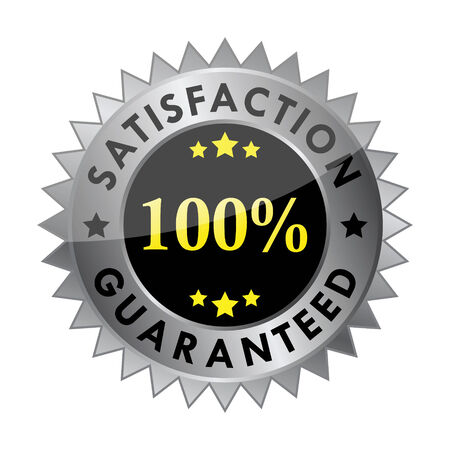 satisfy: 100% satisfaction guaranteed label Illustration