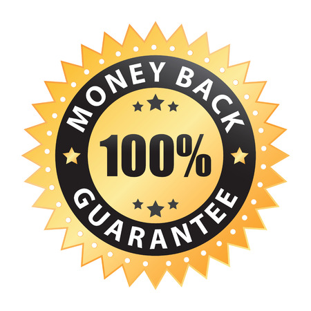 money back: 100% money back guarantee label Illustration