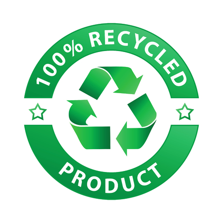 100% recycled product label (vector) Illustration