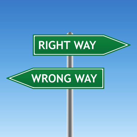incorrect: right and wrong way sign (vector)