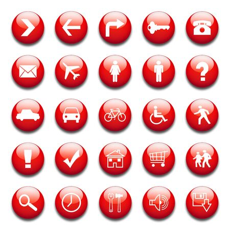 exclamation icon: glossy red web icons