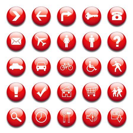 signo de admiracion: iconos de la web de rojo brillante Foto de archivo
