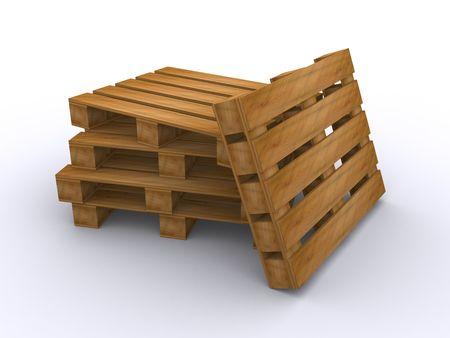 wooden pallets (3d render) Stock Photo - 6448555