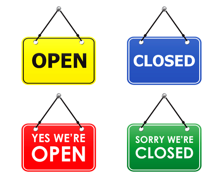 close icon: open and closed signs (vector) Illustration