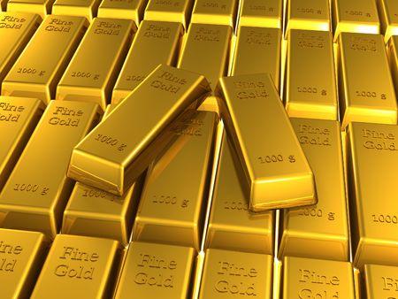 gold bars (3d render) Stock Photo