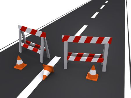 road barrier: road closed Stock Photo