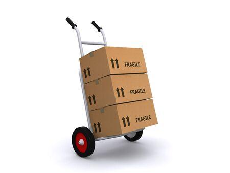montacargas: cami�n de mano y cajas de cart�n