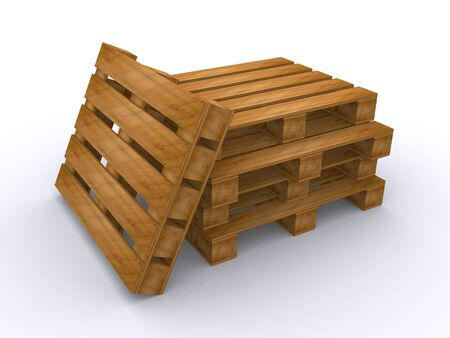 wooden pallets (3d render) Stock Photo - 6770621