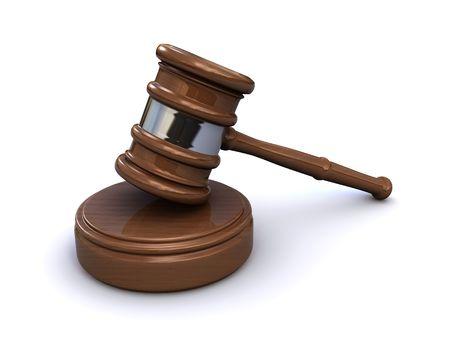 rechter gavel (3D-plaatsing) Stockfoto