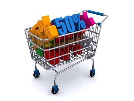 shopping cart with discount prices Stock Photo - 6840430